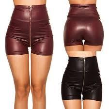 y pu leather shorts women zipper red