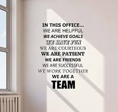 Amazon Com In This Office We Are A Team Wall Decal Teamwork Office Quote Gift Inspirational Sayings Lettering Vinyl Sticker Motivational Gift Decorations Home Bedroom Decor Art Poster Mural Custom Print 747 Kitchen