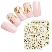 Gold Flower 3d Nail Stickers Adhesive Transfer Decals Tips Nail Art Decoration Ebay