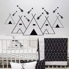 Tribal Mountains Vinyl Wall Sticker Woodland Arrows Wall Decal Nursery Kids Room Decor Tribal Pattern Mountain Wall Mural Ay1241 Wall Stickers Aliexpress