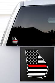 Georgia Thin Red Line State Decal Black Helmet