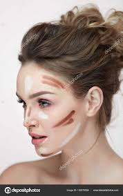 y woman with makeup contour lines