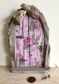 Fairy Door With Tiny Keys Old Wood Chip Accent By Olive Olive Nature Folklore
