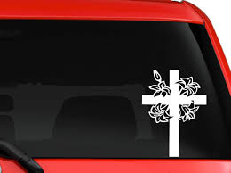 Amazon Com La Decal Beautiful Cross And Flowers Decal Sticker Car Truck Window Laptop 6 White Kitchen Dining