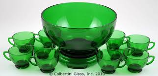 anchor hocking forest green punch bowl set