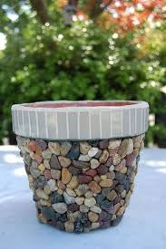 pebbles mosaic flower pots diy