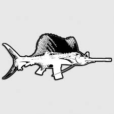 Sailfish Ar15 Sticker Marlin Fish Fishing Rifle Gun Car Vehicle Window Decal Ushirika Coop