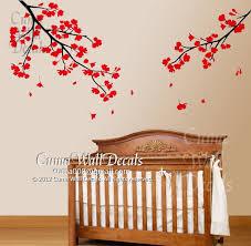 Nursery Wall Decals Red Flower Blossom Cuma Wall Decals
