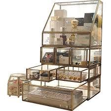 makeup organizer mirror glass drawers