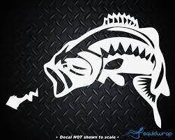 Bass W Worm Fishing Car Decal Laptop Sticker White 5 Ebay