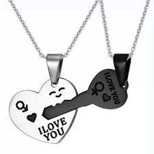 you letters heart pendant couple
