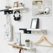 wooden storage shelf coat hooks