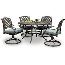cast metal round 5 piece patio dining