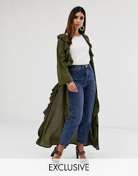 verona frill front duster jacket in