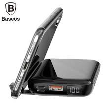 Sạc nhanh không dây Pin sạc dự phòng BASEUS MINI S Bracket 2 in 1 10 000mAh cho  Iphone 8 iphone X Samsung Galaxy S9 Note8 Hàng chính hãng - MuaGiaRe