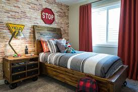 25 Vivacious Kids Rooms With Brick Walls Full Of Personality Wall Decor Bedroom Modern Boys Rooms Room Design