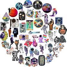 50 Pcs Astronaut Nasa Cartoon Stickers For Laptop Suitcase Helmet Storage Box Phone Wall Stickers Waterproof Vinyl Decal For Kids Wish
