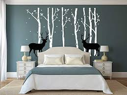 Amazon Com Luckkyy Birch Tree Deer Wall Decal Nursery Forest Removable Birch Trees Vinyl Sticker For Kids Bedroom Decor Nursery Bedroom White Home Kitchen