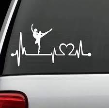 Amazon Com Bluegrass Decals K1086 Ballet Ballerina Dance Heartbeat Lifeline Decal Sticker Automotive