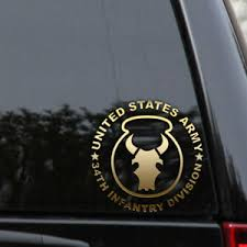 Army 34th Red Bull Infantry Division Decal Sticker Veteran Window Ebay