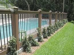 Vinyl Composite Fence Backyard Pool Landscaping Backyard Fences Fence Around Pool