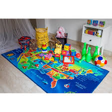 Zoomie Kids Mack Usa Map Educational Learning And Game Non Skid Backing High Definition Southwestern Blue Green Indoor Outdoor Area Rug Reviews Wayfair