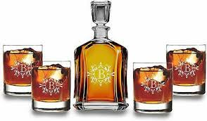 scotch decanter set with 4 whiskey
