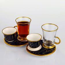 18 pcs marble pattern turkish tea set