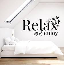 Vinyl Wall Decal Relax Enjoy Inscription Home Interior Butterflies Bed Wallstickers4you