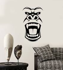 Vinyl Wall Decal Gorilla Evil Monkey Head Face African Mask Stickers Wallstickers4you
