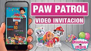Invitacion De Cumpleanos Paw Patrol Patrulla Canina Youtube