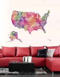 Cik1863 Full Color Wall Decal Watercolor Map United States Living Room Stickersforlife