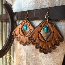 tooled leather earrings hand tooled