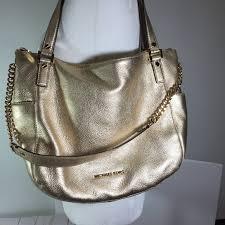 gold chandler metallic leather bag