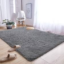 Amazon Com Andecor Soft Fluffy Bedroom Rugs 5 X 8 Feet Indoor Shaggy Plush Area Rug For Boys Girls Kids Baby College Dorm Living Room Home Decor Floor Carpet Grey Home Kitchen
