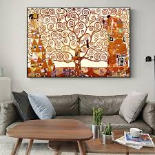 Unframed Printed Poster Gustav Klimt Kiss Tree Of Life Classic Canvas Modern Oil Art Home Wall Decal Wish