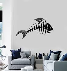 Vinyl Wall Decal Fish Bone Seafood Restaurant Cafe Fishing Store Stick Wallstickers4you