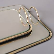 mirrored tray modern tray simple gold