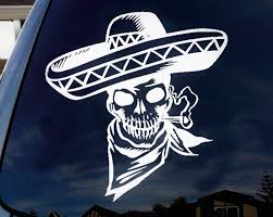 Amazon Com La Decal Traditional Mexican Skeleton With Sombrero Car Truck Laptop Macbook Window Decal Sticker 8 White Automotive