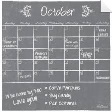 Monthly Weekly Calendar Wall Decal Set Gray Chalkboard