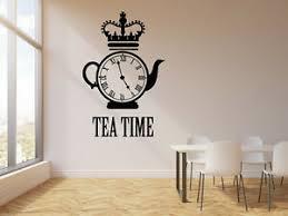 Vinyl Wall Decal Tea Time Clock Kettle Crown Restaurant Decor Stickers G183 Ebay