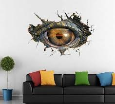 Wall Sticker Living Room Bedroom Background Simple Big Dinosaur Eye 3d Wall Stickers Decorative Creative Removable Wall Apr9 Wall Stickers Aliexpress