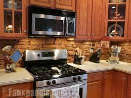 Faux stone | Kitchen backsplash pictures, Creative kitchen backsplash