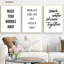 Wash Your Worries Canvas Paintings Quotes Poster And Prints For Washroom Bathroom Modern Picture Home Art Murals Wall Decoration Wallcorners Art Canvas