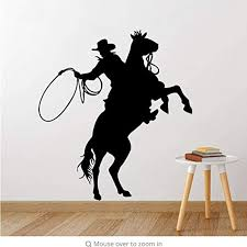 Amazon Com Fsds Wall Vinyl Decal Cowboy Stickers Decals Removable Horing Riding Art Decals Cowboy Poster Art Poter Kitchen Dining