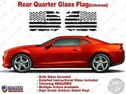 Us Flag Vinyl Decal Universal Fit Rear Quarter Window Distressed Grunge American Ebay