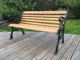garden bench with cast iron