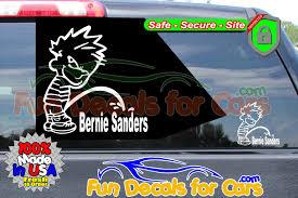 Calvin Peeing On Bernie Sanders Sticker Fun Decals For Cars