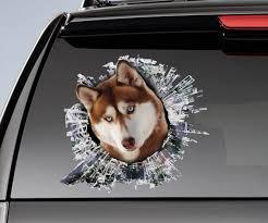 Red Husky Window Sticker Car Sticker Red Husky Car Decal Etsy