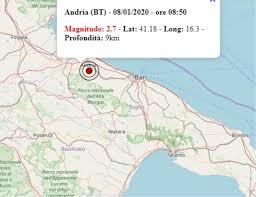 Terremoto in Puglia oggi, 8 gennaio 2020: scossa M 2.7 avvertita ...